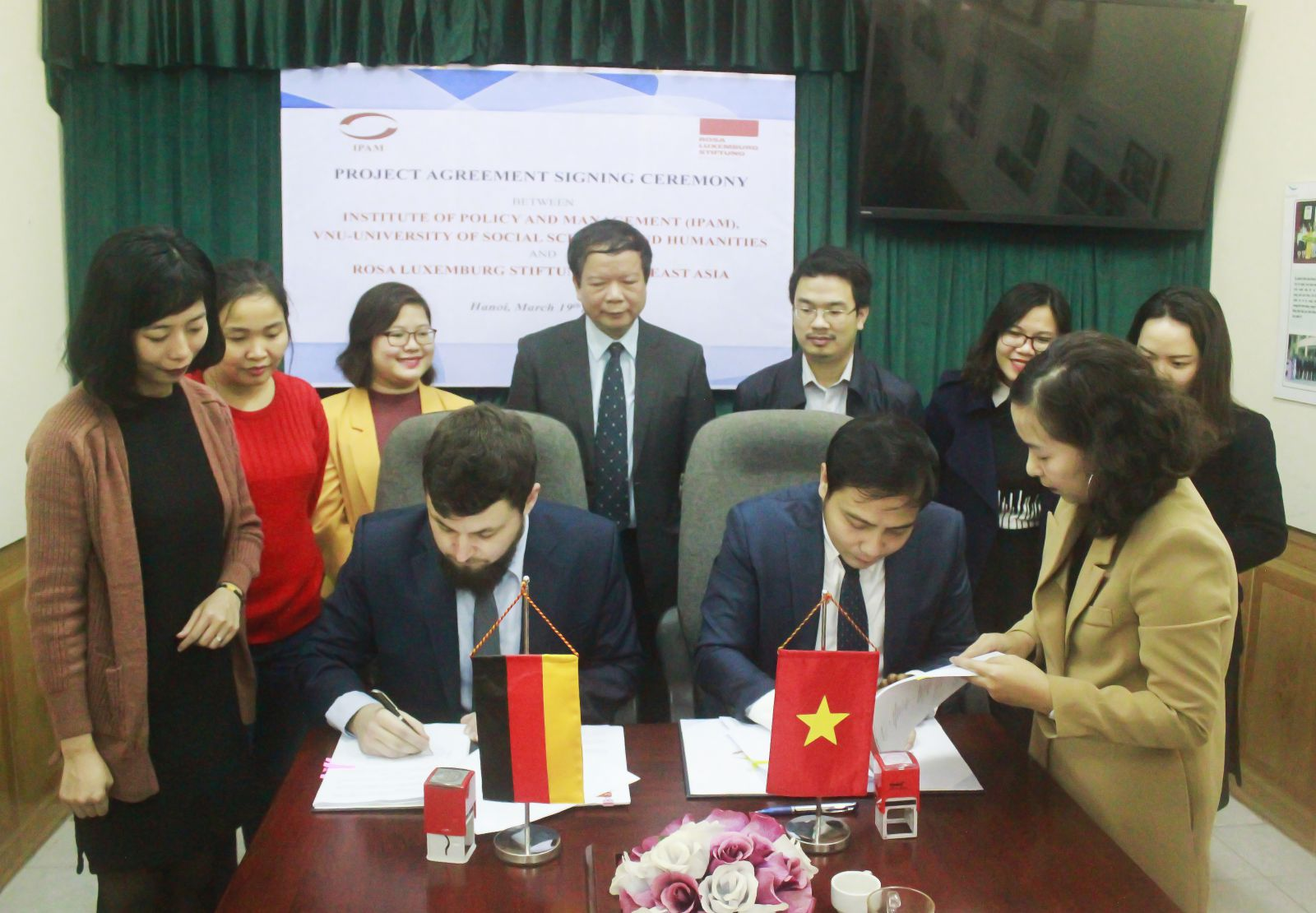 Project Agreement Signing Ceremony between IPAM and Rosa Luxemburg Stiftung Southeast Asia.